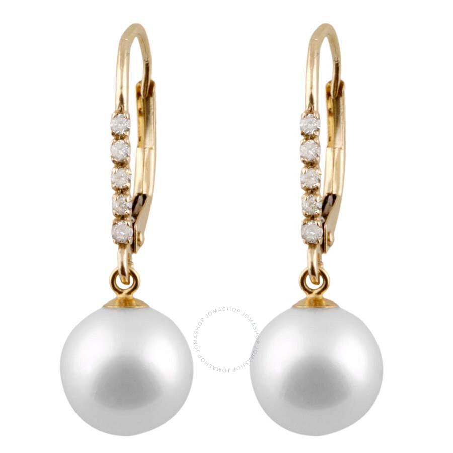 Bella Pearl 14k Gold Diamond Earrings