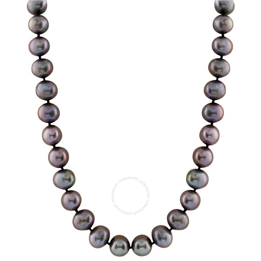 pearl black freshwater pearl single strand necklace