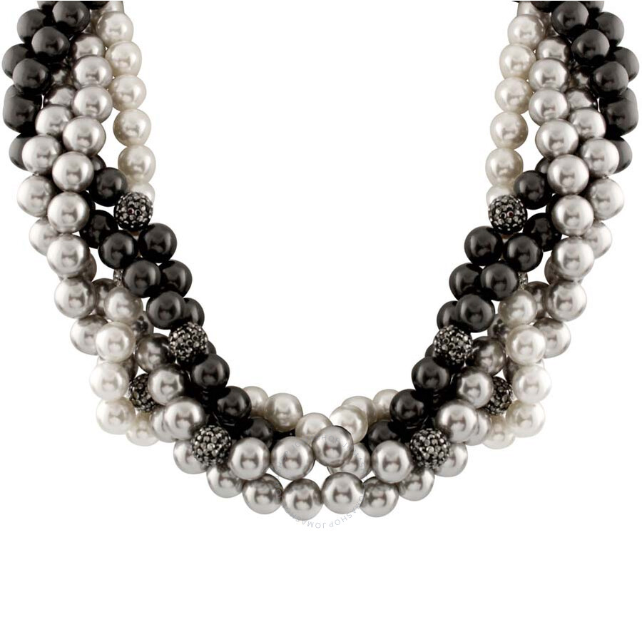 Multi Row Pearl Necklace: Bella Pearl Braided Multi Row Necklace