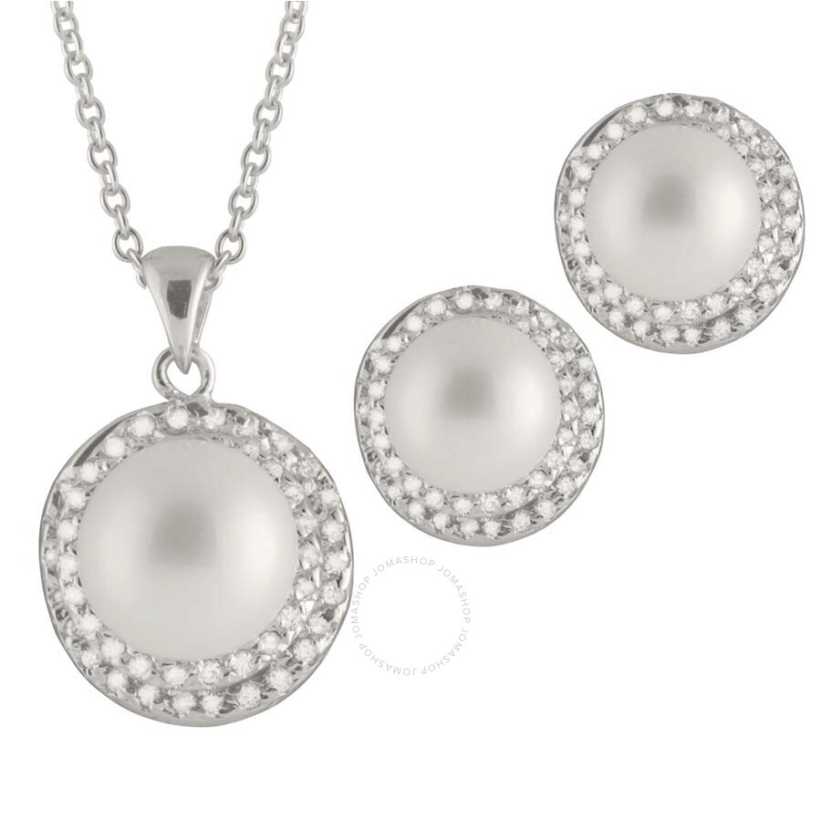 Bella Pearl Sterling Silver White Pearl Earring and Necklace Set