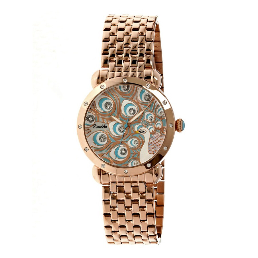 db782cea42e2 Bertha Genevieve Rose Gold-tone Steel Case Peacock Mother of Pearl Dial  Ladies Watch BR3803 ...