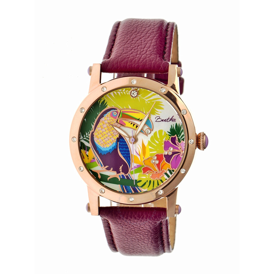 Bertha gisele toucan mother of pearl steel case purple leather strap ladies watch br4404 for Violet leather strap watch