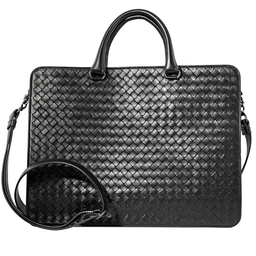 5be9d46b6 Bottega Veneta Intrecciato Woven Leather Briefcase- Black