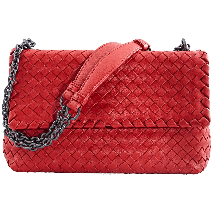 247aad17b Bottega Veneta Olimpia Leather Shoulder Bag- Red Item No. 386498 V0016 RD