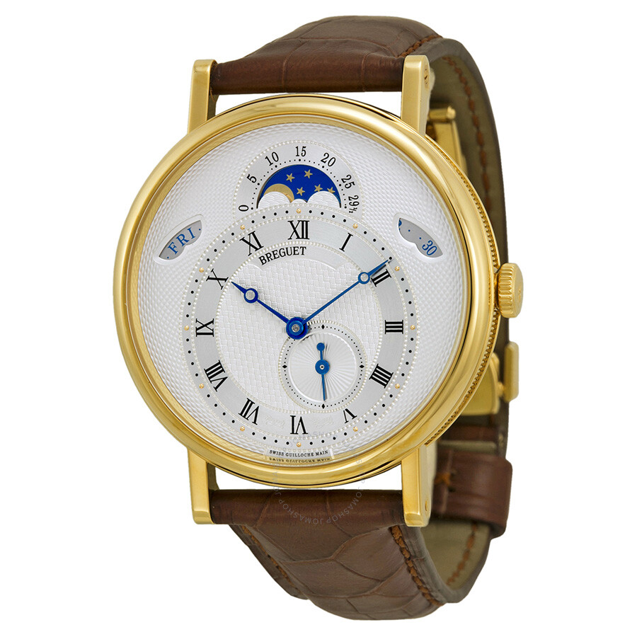 326f002a5f8 Breguet Classique Automatic Moonphase Silver Dial 18 kt Yellow Gold Men s  Watch 7337BA1E9V6 ...