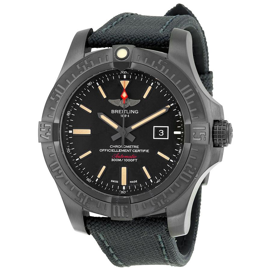 Breitling avenger blackbird black dial canvas military strap automatic men 39 s watch avenger for Avenger watches