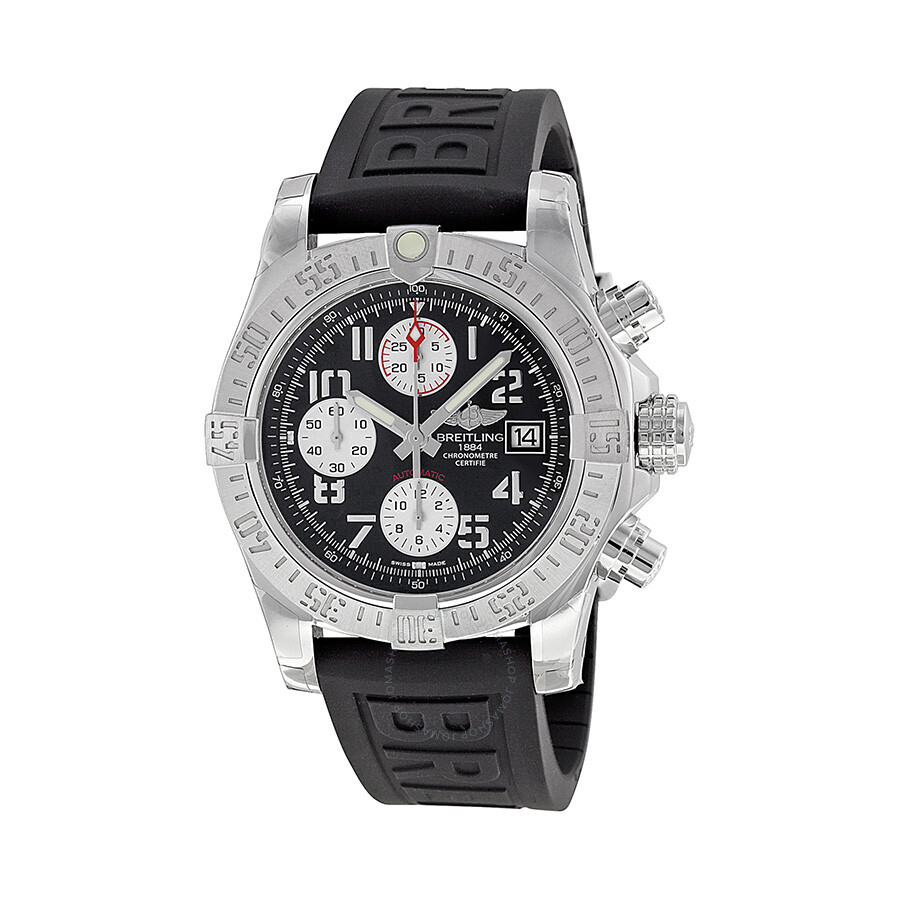 Breitling avenger ii black dial chronograph black rubber strap automatic men 39 s watch a1338111 for Avenger watches