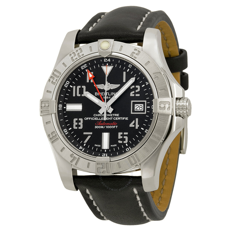 Breitling avenger ii gmt black dial automatic men 39 s watch a3239011 bc34bklt avenger avenger for Avengers watches
