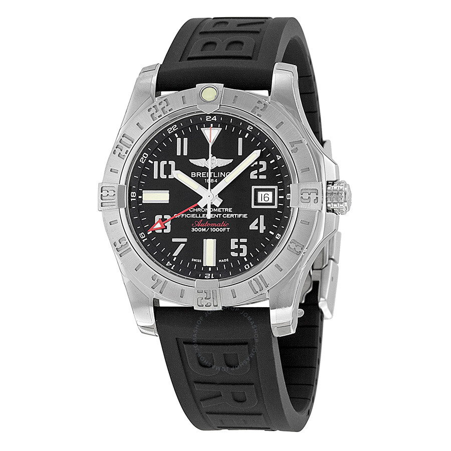 Breitling avenger ii gmt black dial black rubber automatic men 39 s watch a3239011 bc34bkpd3 for Avengers watches