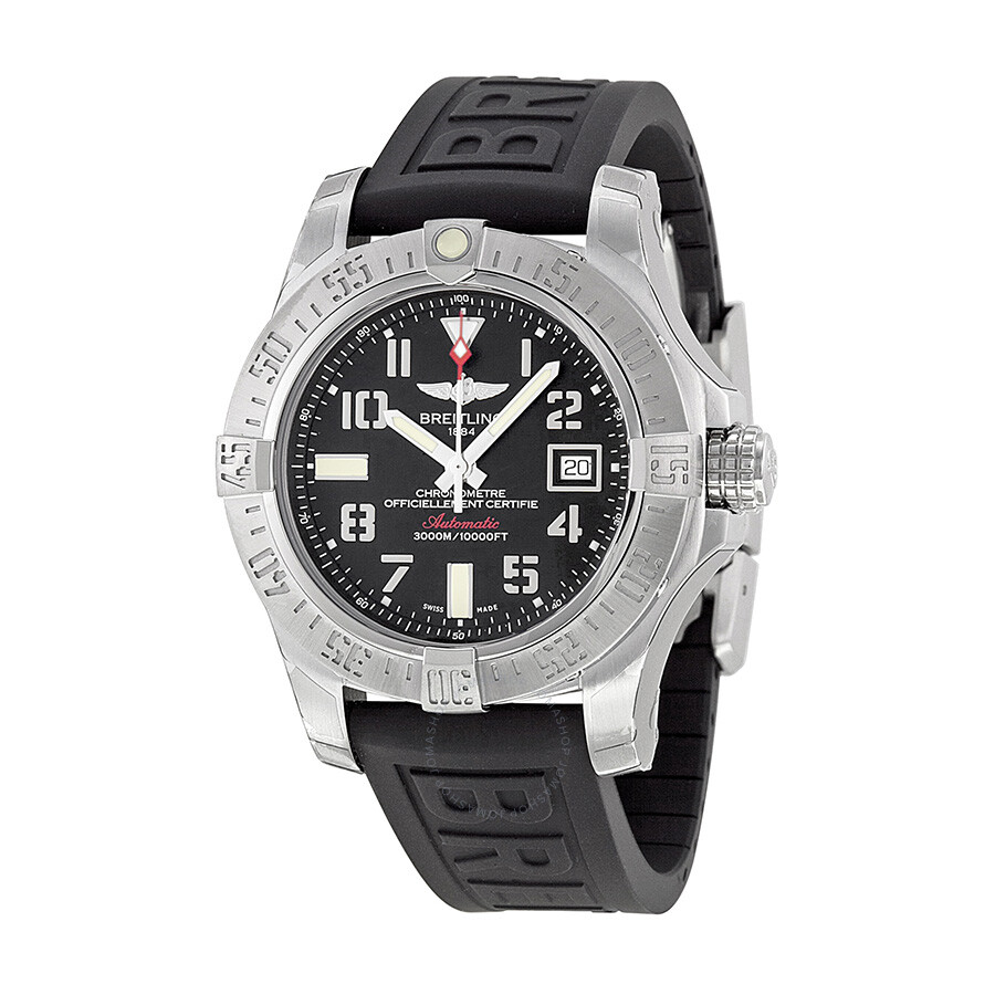 Breitling avenger ii seawolf black dial black rubber automatic men 39 s watch a1733110 bc31bkpd3 for Breitling automatic