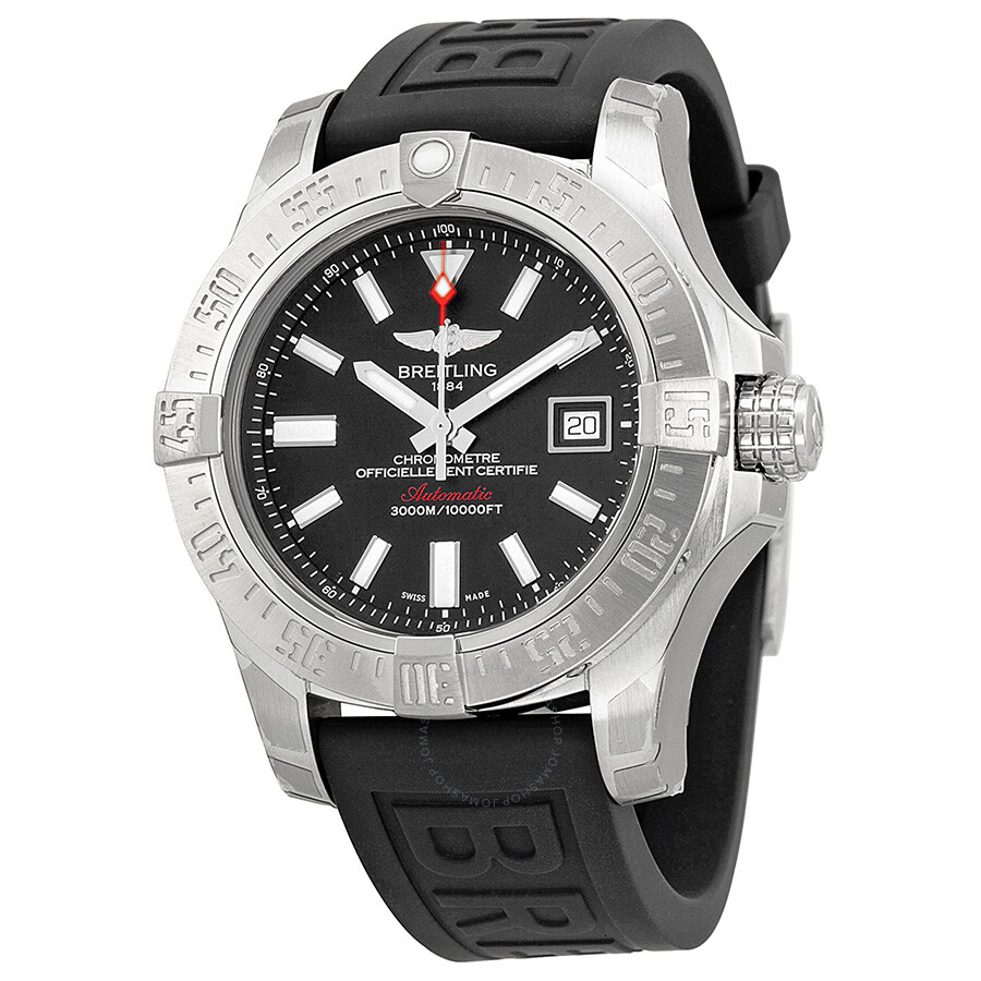 Breitling avenger ii seawolf black dial black rubber men 39 s watch a1733110 bc30 avenger for Avenger watches