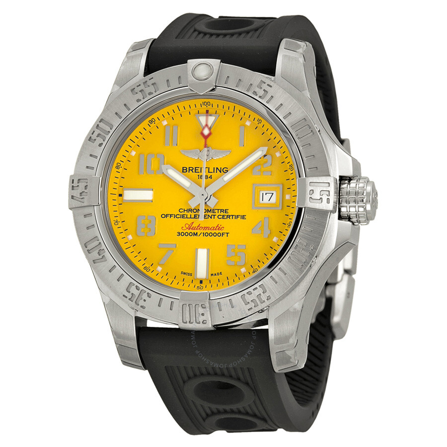 Breitling avenger ii seawolf yellow dial automatic men 39 s watch a1733110 i519bkor avenger ii for Avenger watches