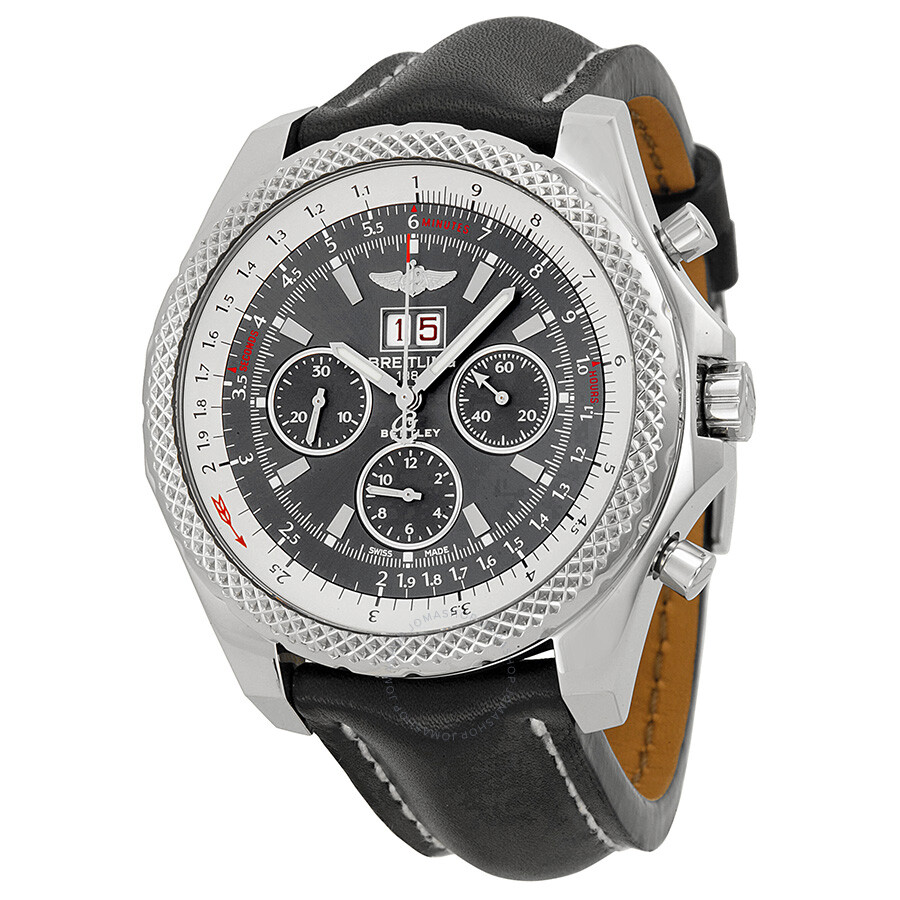 Breitling Bentley Leather Band: Breitling Bentley 6.75 Speed Grey Dial Black Leather Men's