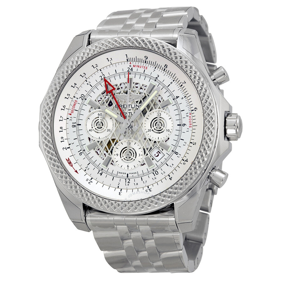 Breitling Stainless Steel Bentley Automatic Wristwatch Ref: Breitling Bentley B04 GMT Chronograph Silver Dial