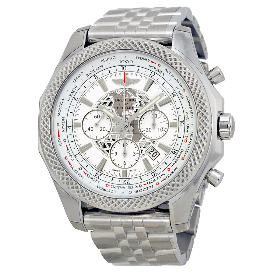 Breitling Stainless Steel Bentley Automatic Wristwatch Ref: Breitling Bentley B05 Unitime Chronograph White Dial