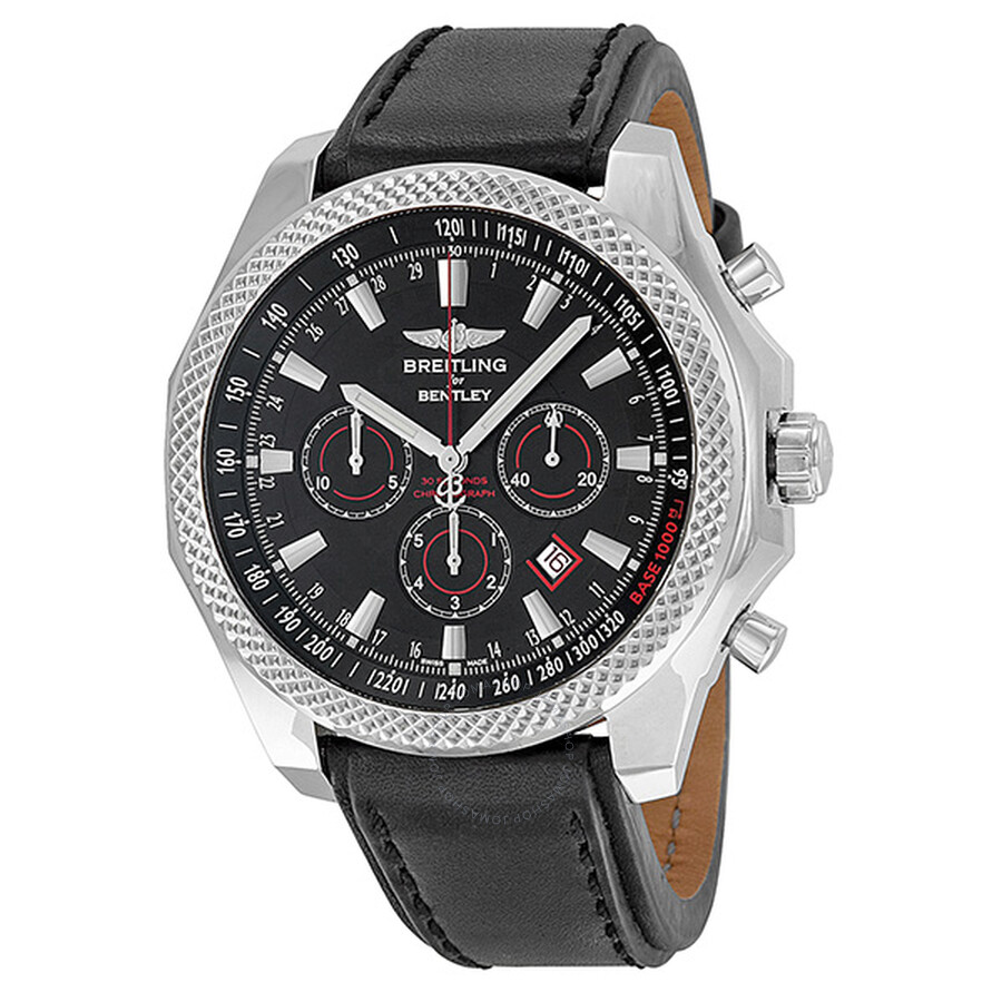 Breitling Bentley Leather Band: Breitling Bentley Barnato Black Dial Black Leather