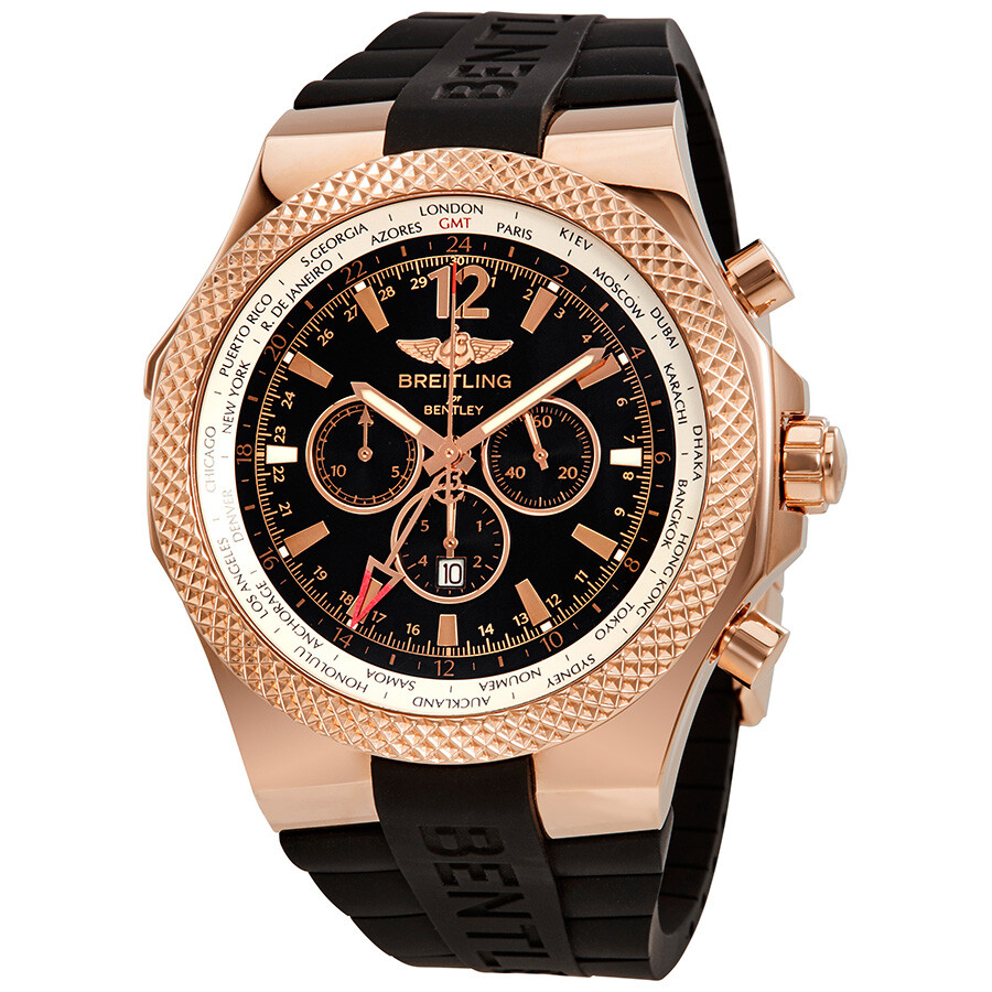 Breitling Bentley GMT Black Dial Chronograph 18K Rose Gold