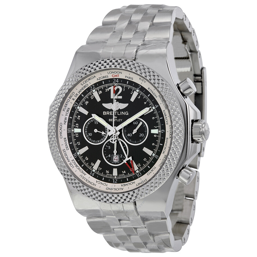 Breitling For Bentley >> Breitling Bentley Gmt Chronograph Black Dial Automatic Men S Watch
