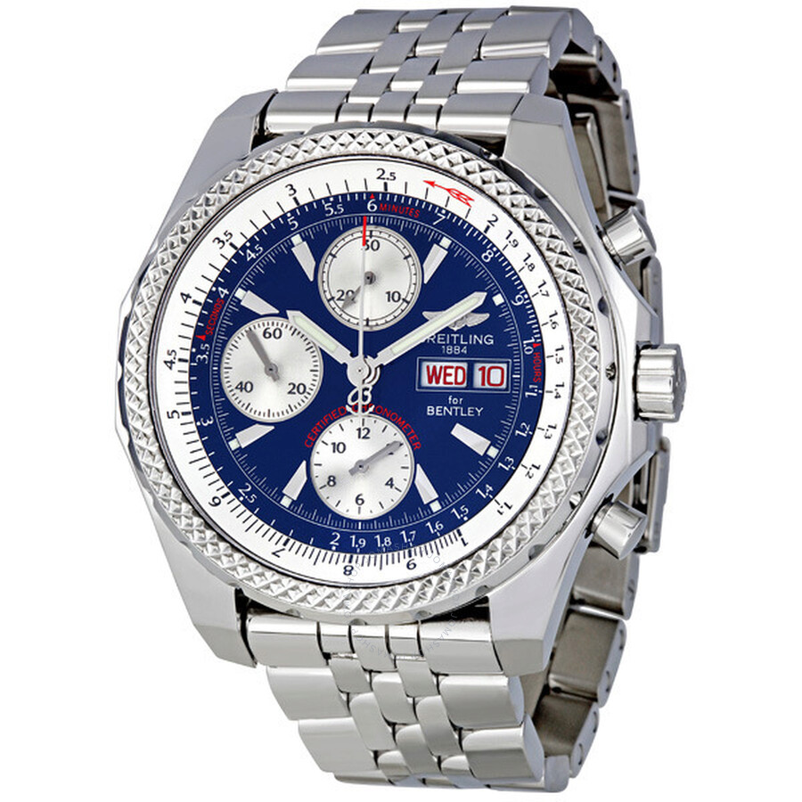 Breitling Bentley Gt Wristwatches: Breitling Bentley GT Blue Dial Chronograph Automatic Men's