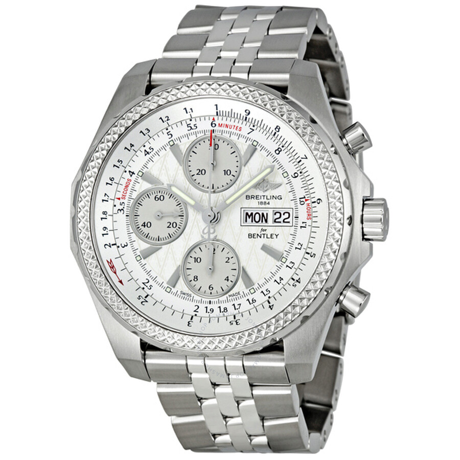 Breitling Bentley Gt Wristwatches: Breitling Bentley GT Silver Dial Steel Chronograph Men's
