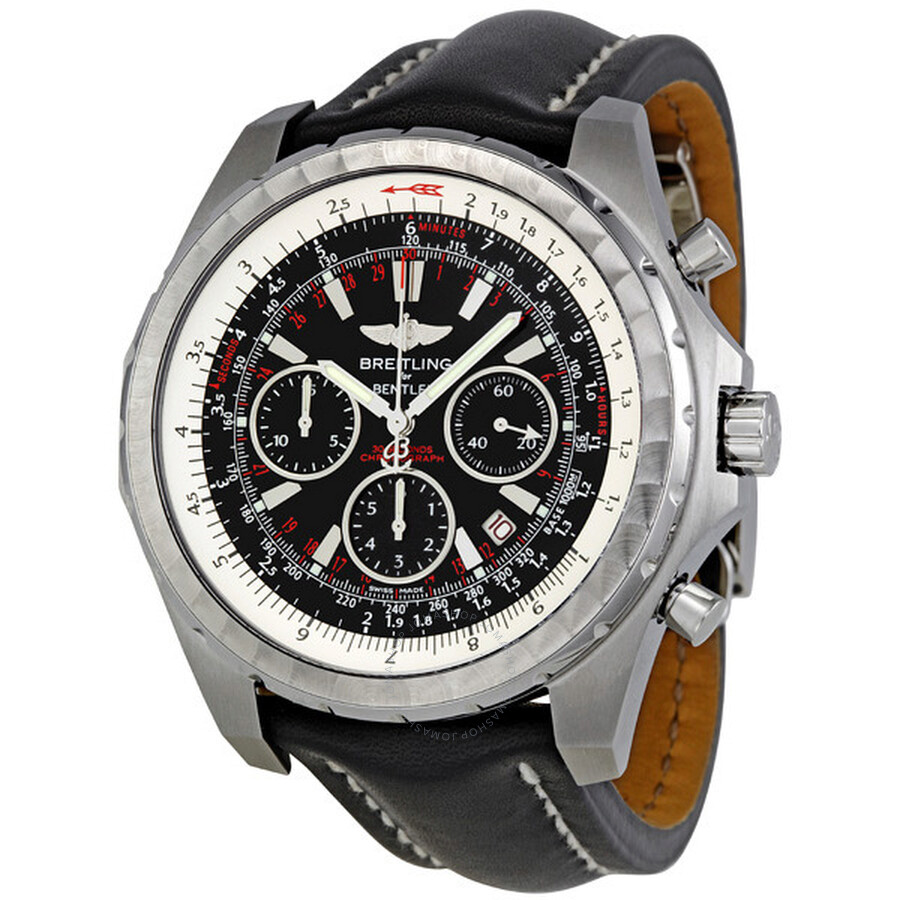 Breitling Bentley Motors T Chronograph Black Leather Strap