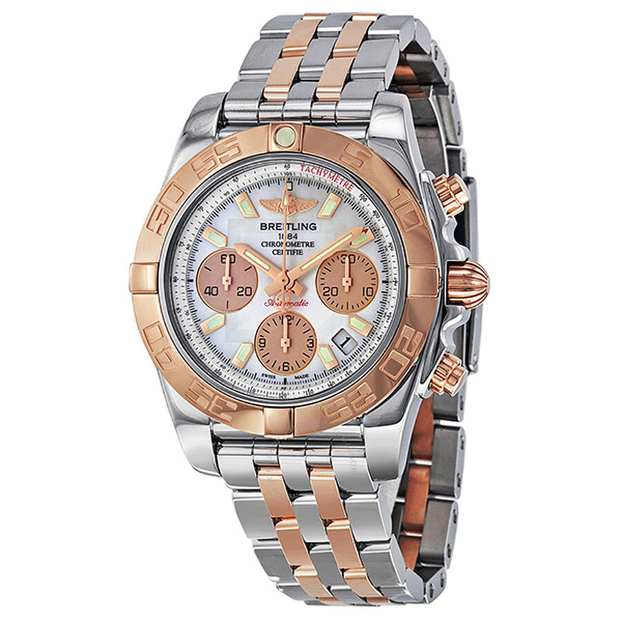 Breitling Chronomat 41 Automatic Chronograph Rose Gold And Stainless Steel Men S Watch Cb014012 A722tt
