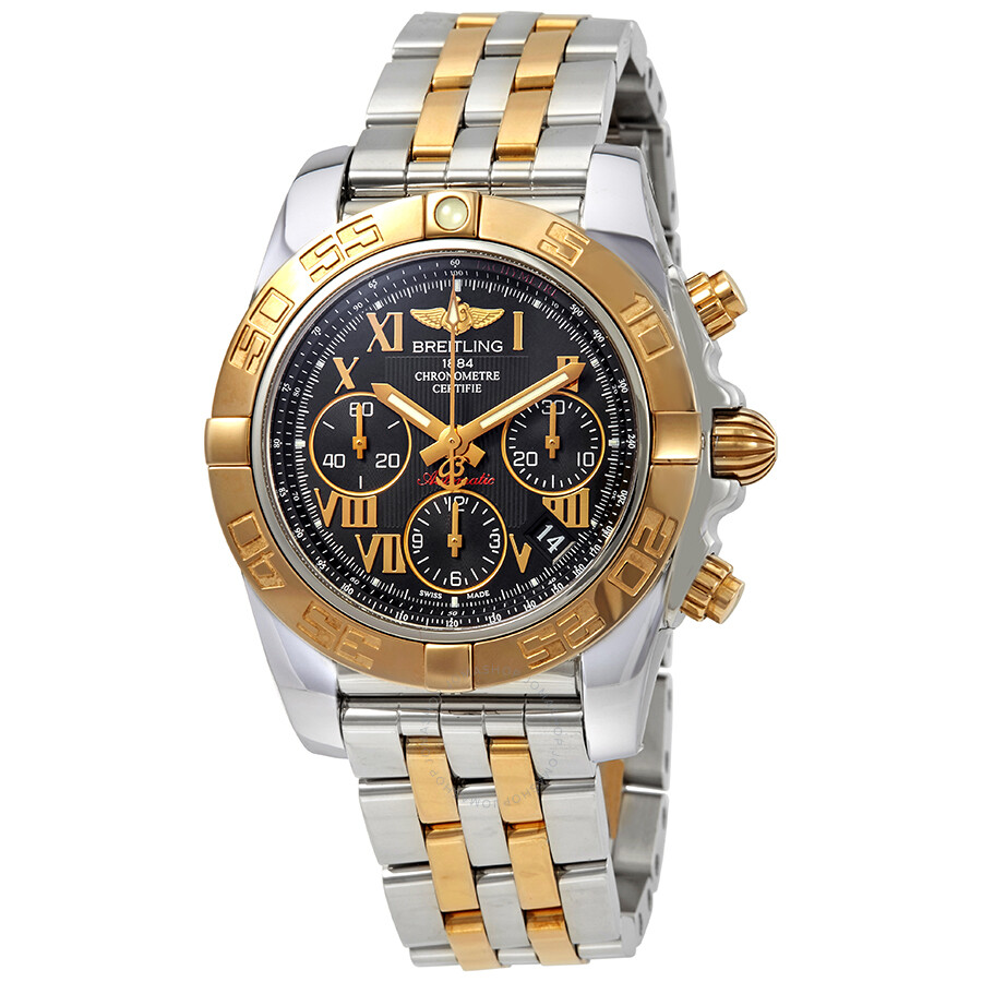 Breitling Chronomat 41 Black Dial Automatic Men S Steel And 18k Rose Gold Watch Cb014012 Bc08tt
