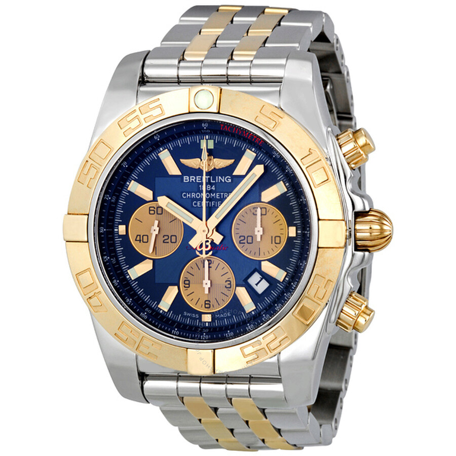 breitling chronomat 44 blue steel and gold automatic