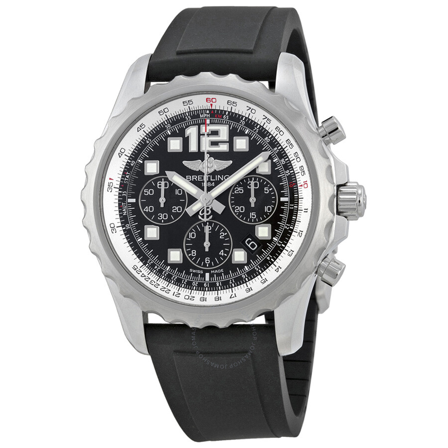 Breitling chronospace automatic black dial black rubber men 39 s watch a2336035 ba68bkpd for Breitling automatic