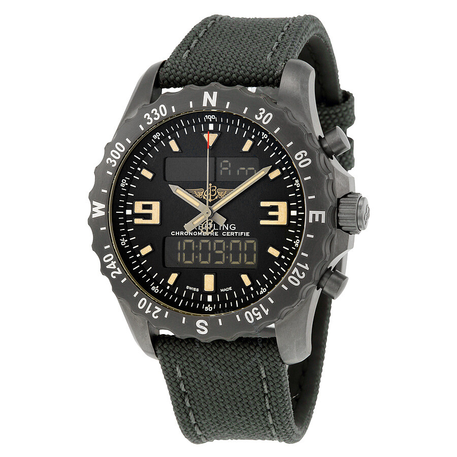 Breitling chronospace military black dial black carbon based stainless steel men 39 s watch for Watches breitling