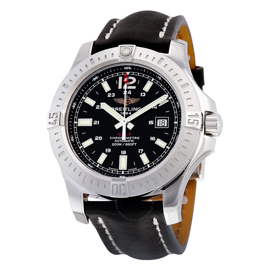 Breitling breitling colt 44 black dial automatic men 39 s watch a1738811 bd44bklt colt for Watches breitling