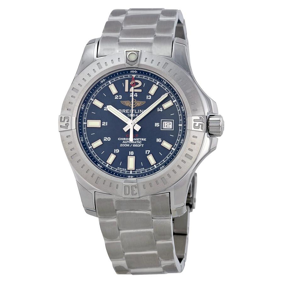 Breitling colt automatic marine blue dial men 39 s watch a1738811 c906ss colt breitling for Breitling automatic