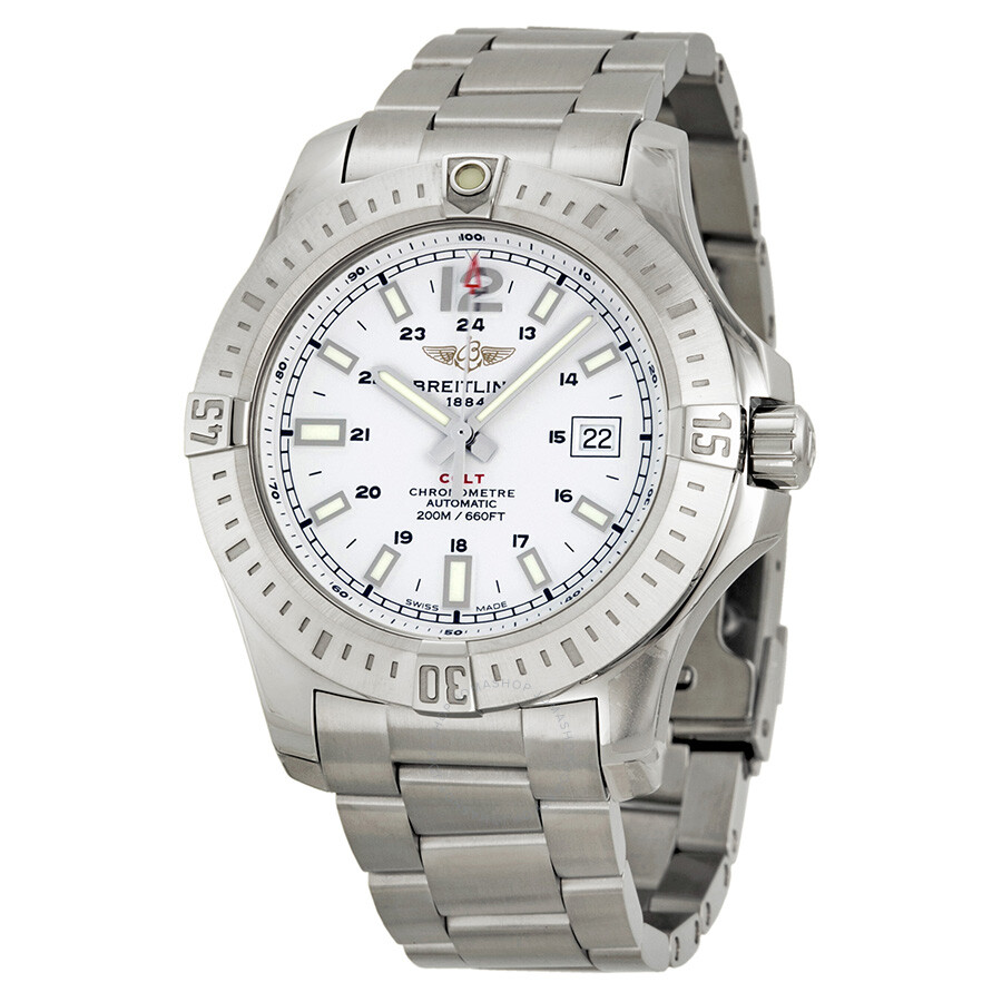 Breitling colt automatic silver dial stainless steel men 39 s watch a1738811 g791ss colt for Breitling automatic