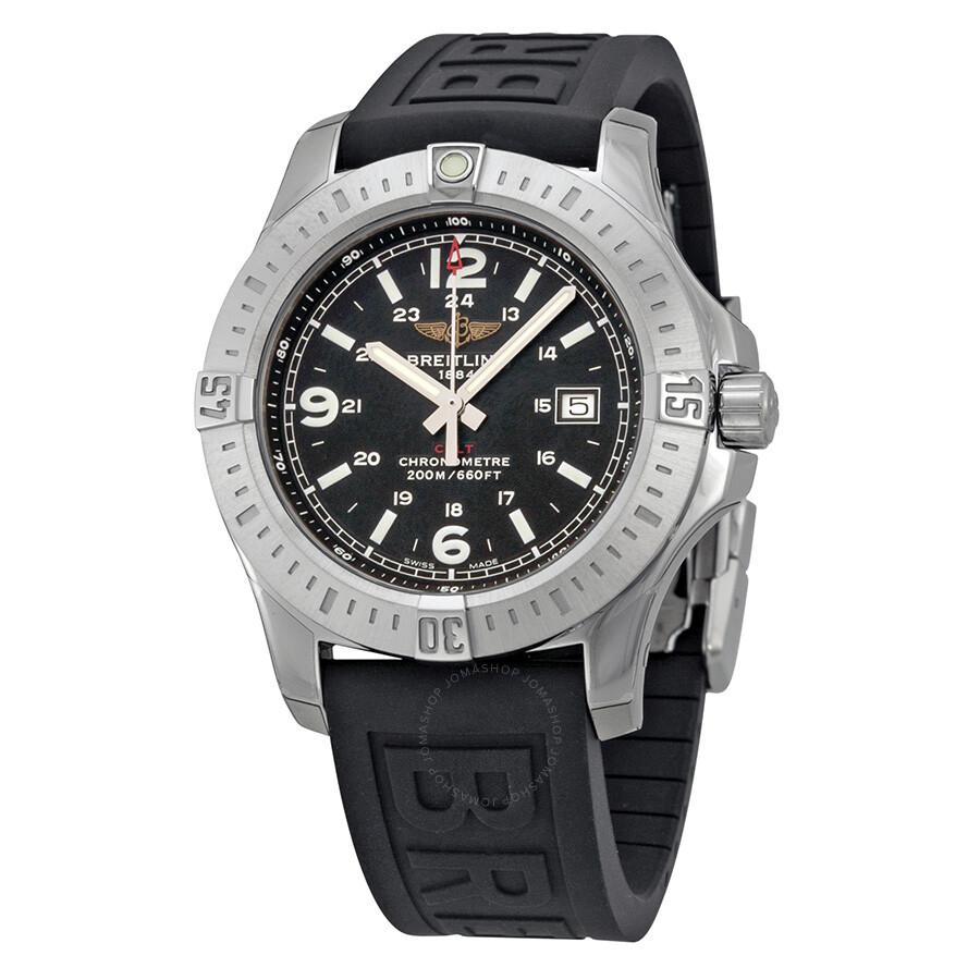 Breitling colt black dial rubber strap men 39 s watch a7438811 bd45bkpd3 colt breitling for Rubber watches