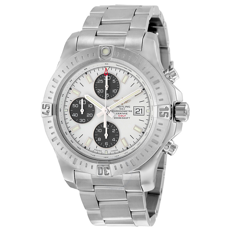 Breitling colt chronograph automatic stratus silver dial men 39 s watch a1338811 g804ss colt for Breitling automatic