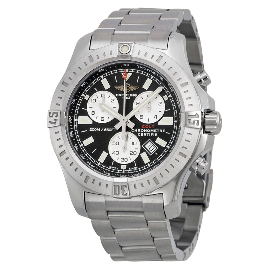 breitling colt chronograph black dial stainless steel men 39 s watch a7338811 bd43ss colt. Black Bedroom Furniture Sets. Home Design Ideas
