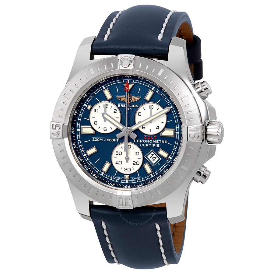 Breitling Colt Chronograph Blue Leather Quartz Ment Watch A7338811-C905BLLT  ...