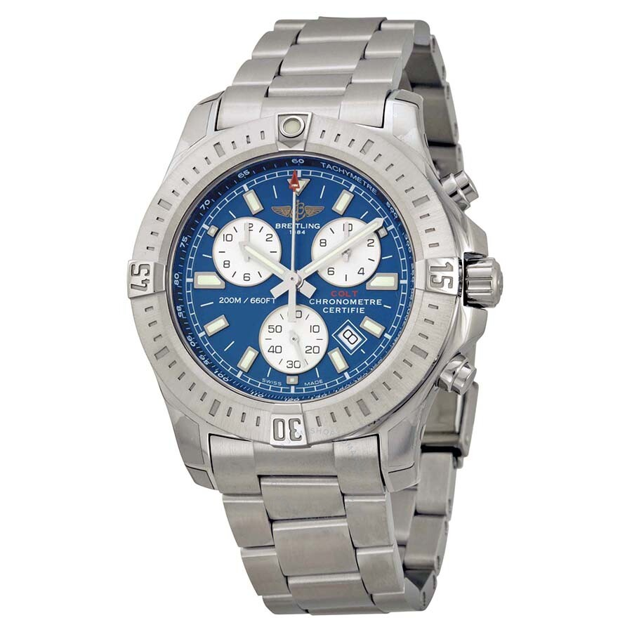 breitling colt chronograph blue dial men 39 s watch a7338811 c905ss colt breitling watches. Black Bedroom Furniture Sets. Home Design Ideas