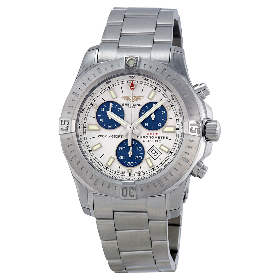 breitling colt chronograph silver dial men 39 s watch a7338811 g790ss colt breitling watches. Black Bedroom Furniture Sets. Home Design Ideas