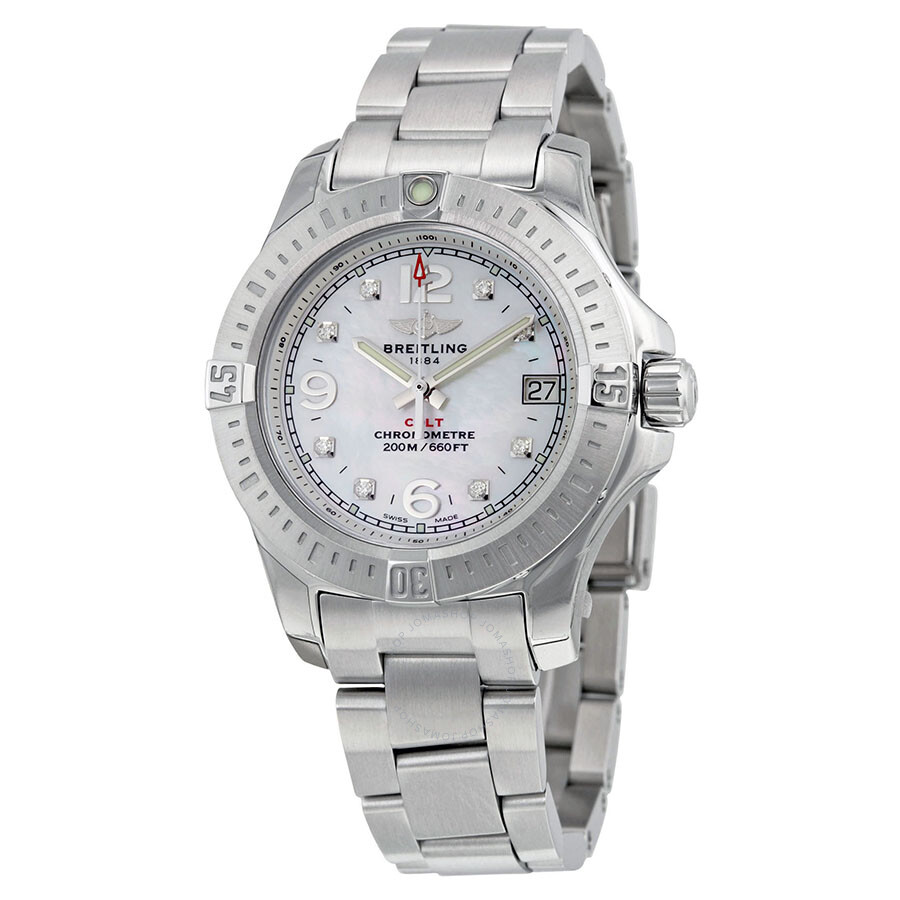 Breitling colt lady mother of pearl diamond watch a7738811 a769ss colt breitling watches for Pearl watches