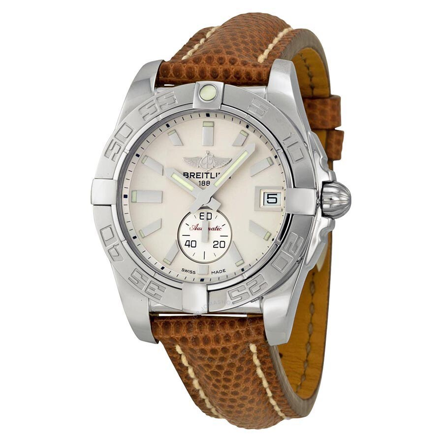 Breitling galactic 36 automatic silver dial brown lizard leather unisex watch a3733012 g706brzt for Breitling automatic