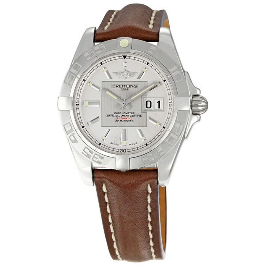 Breitling Galactic 41 Silver Dial Brown Leather Strap Men s Watch  A49350L2-G699BRLD ... 317d86fe1