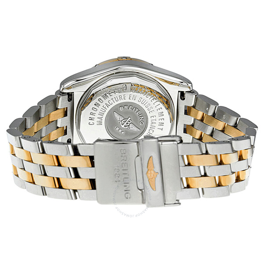 breitling cockpit silver gold and stainless