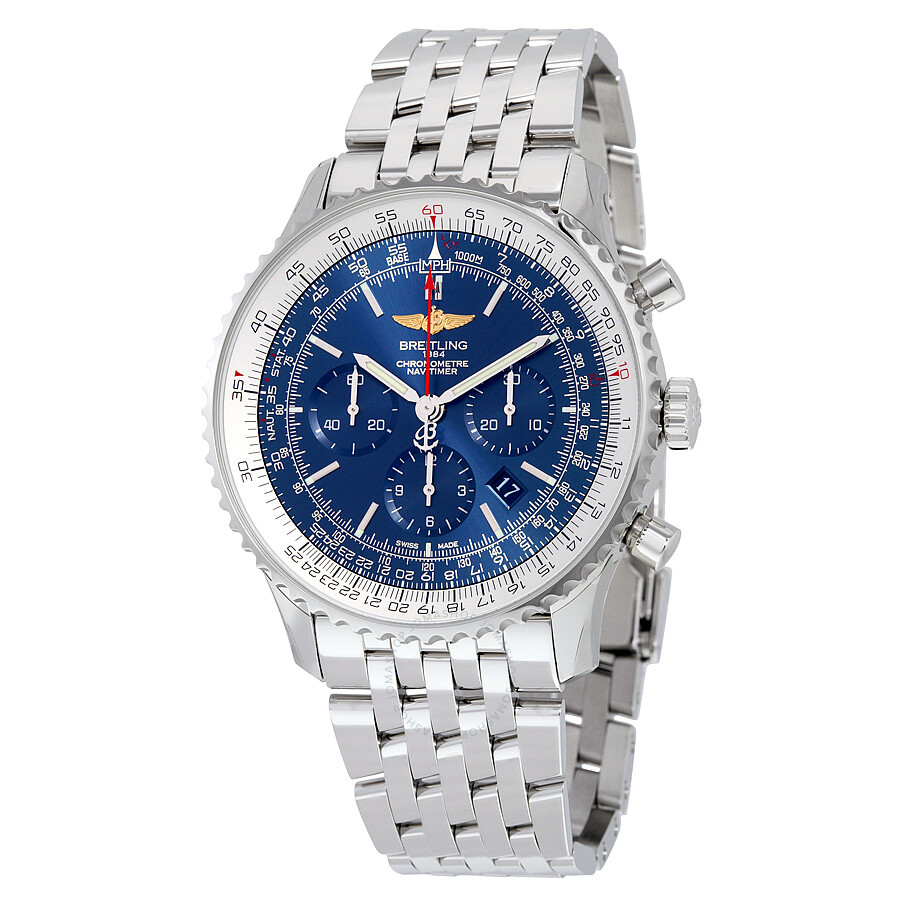 Breitling Navitimer 01 46mm Chronograph Aurora Blue Dial Stainless Steel Men S Watch Ab012721 C889ss