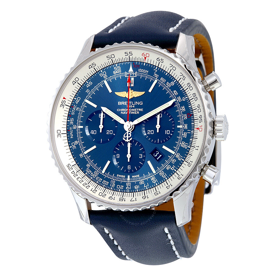 Breitling navitimer 01 blue dial chronograph automatic men 39 s watch ab012721 c889blld navitimer for Watches breitling