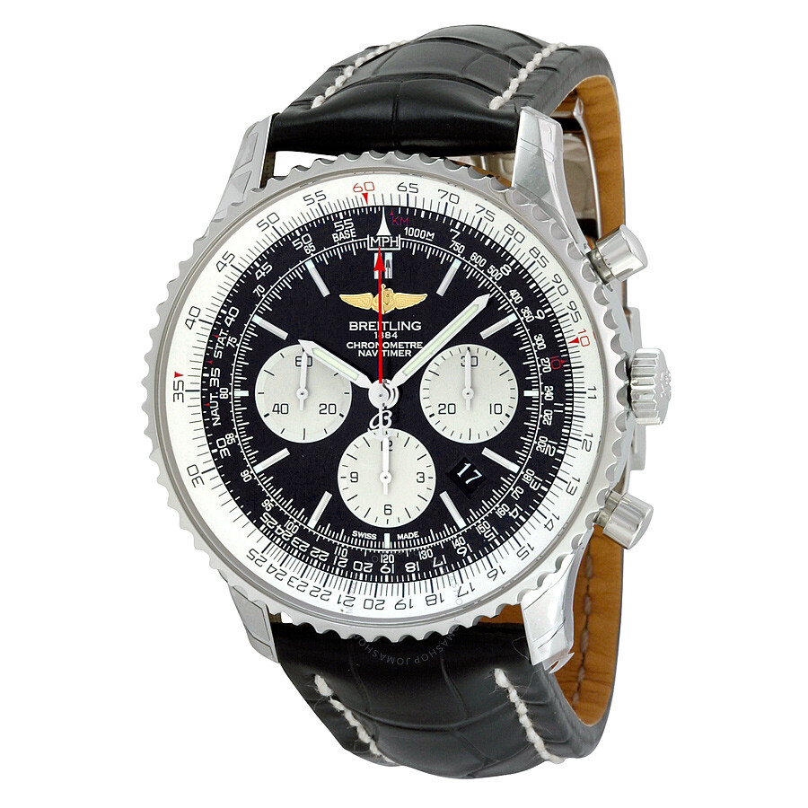 Breitling navitimer 01 chronograph black dial black leather men 39 s watch ab012721 bd09bkcd for Watches breitling
