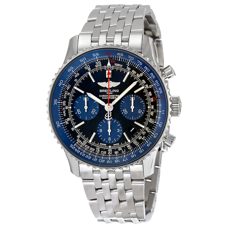 Breitling Navitimer 01 Limited Blue Edition Stainless Steel Men S Watch Ab012116 Be09ss