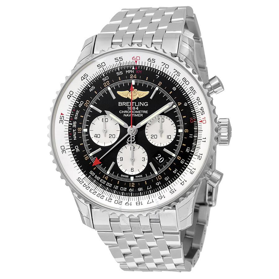 Breitling Navitimer GMT Black Dial Men's Watch AB044121 ...