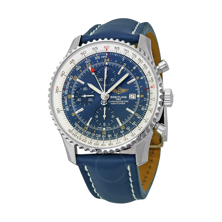 Breitling navitimer world automatic chronograph blue dial blue leather men 39 s watch a2432212 for Breitling automatic