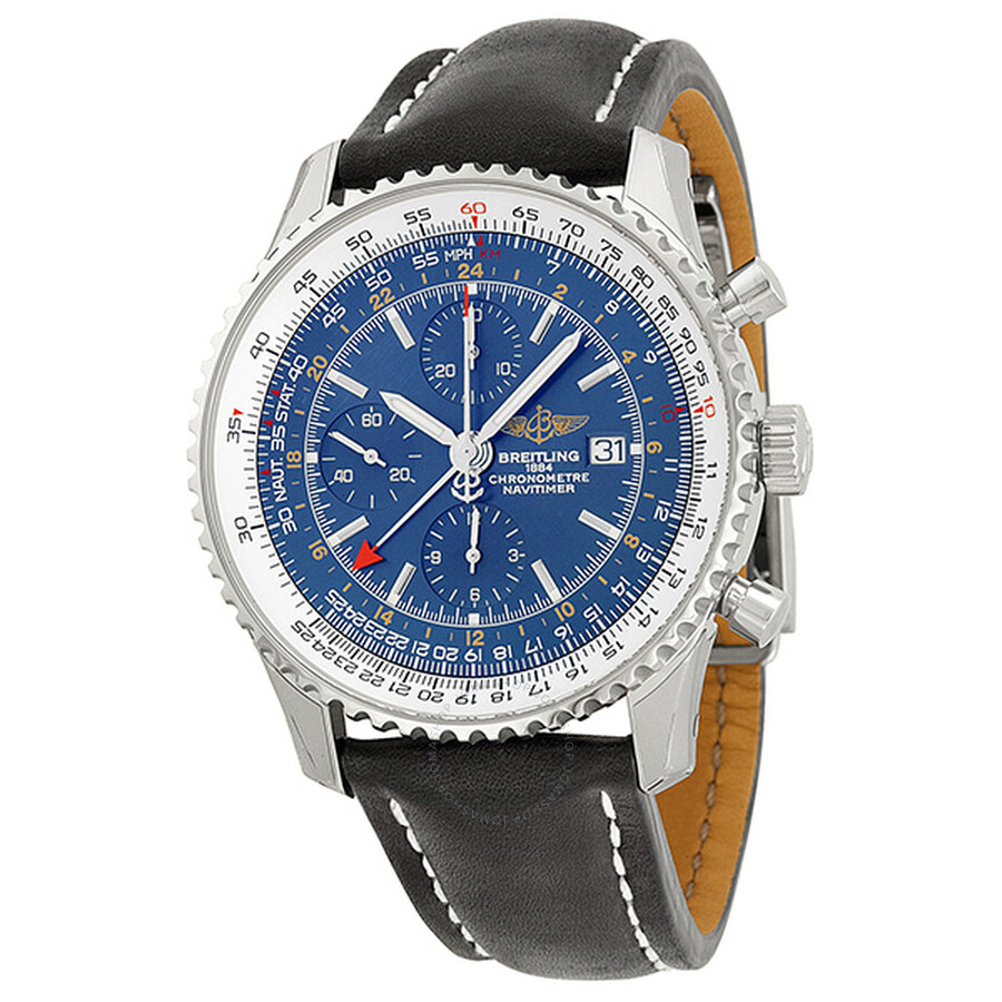 12ce7fe4c202 Breitling Navitimer World Chronograph Blue Dial Black Leather Men s Watch  A2432212-C651BKLD ...
